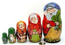 Russian HAND PAINTED 5 MATT nesting dolls Fairy tale Giant Turnip Dog Cat Mouse