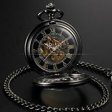 Steampunk Skeleton Mechanical Retro Black Carved Half Hunter Men's Pocket Watch