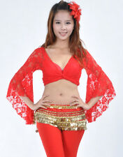 New Sexy Belly Dance Costume Bolero Lace Butterfly Sleeve Top Bra Blouse11 Color