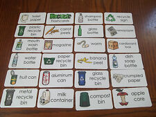 23 Recycling Laminated Flashcards.  Recycle education.  Preschool learning activ