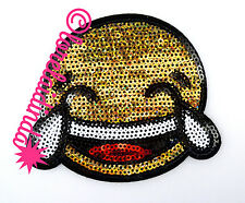 Sew On/Iron On 1 Sequin Gold Laughing Emoji Face Applique Patch Motif