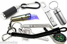 Geocaching SEVEN Essential Keyring Gadgets - 2 Torches-Pen-Tweezers-Bison & Cord