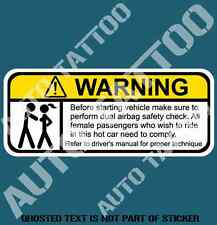 DUAL AIRBAG TEST WARNING DECAL STICKER HUMOUR FUNNY NOVELTY DECAL STICKERS