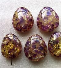 5 Big Oval Pendants Clear With Gold & Purple Flecks 45mm Craft Jewellery Making