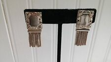 Vintage Textured Silvertone Metal Tassel Fringe Rectangular Screw-on Earrings