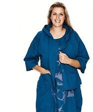 LUUKAA: Lagenlook Jacke mit Kapuze petrol Baumwolle A-Linie Gr. 4 (48 - 50) NEU