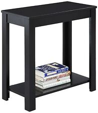 Black End Table Wood Shelf Accent Sofa Coffee Living Room Furniture Stand NEW