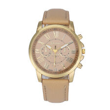 Fashion Women Ladies Geneva Leather Watches Roman Numerals Anology Quartz Watch