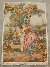 VINTAGE Francese BELLA SCENA ROMANTICA Muro Arazzo Da Appendere 88x49cm (a190)