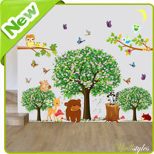 Animal wall stickers hibou jungle zoo nursery bébé enfants chambre décalques art décors