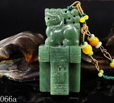100% Natural 3D Hand-carved Chinese Jade Pendant jadeite Necklace Pixiu 066a