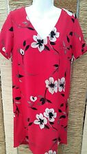 NEXT Ladies Red Floral Short Sleeve Shift Dress Size 10