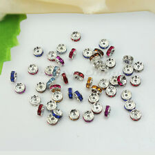 50X 8mm Strass Perlen European Beads Spacer Rondelle Multifarben Basteln DIY