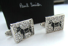 Paul Smith Dog Cufflinks BLACK ENAMEL CRYSTAL with SIGNATURE Swings