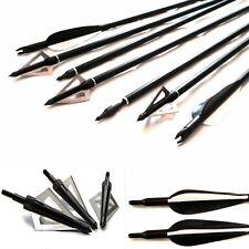 12 Tiro Con L'arco, Frecce su/spento punte & 12 Broadhead Per Campo & Bersaglio,