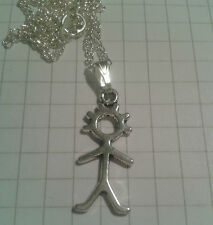 "TIBETAN SILVER MATCHSTICK MAN  PENDANT SILVER PLD 18""or20""CHAIN NECKLACE"