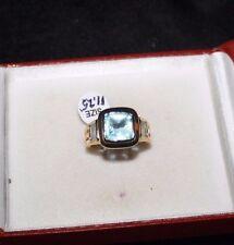 Spectacular Men's Princess Cut Sky Blue Topaz Ring, Size 11.25, 10kt YGP