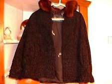 Vintage Black Sheep Coat With Fur Collar