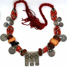 Old Moroccan Berber Tribal Coral, Amber Coin Necklace