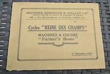 WALLUT et Cie CYCLES reine des Champs MACHINES A COUDRE Farmer's Home catalogue