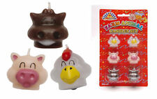 6 Farm Animal Shaped Candles - Cake Decorations Party Birthday Kids