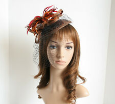 Church Derby Bridal Sinamay Feather, Veil, Sequi Fascinator Brown/Orange/Red 36