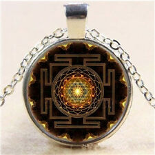 Charm Sri Yantra Photo Cabochon Glass Pendant Silver Chain Necklace Jewelry FT