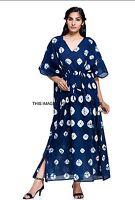 Indian Tie Dye Shibori Hippie Kaftan Tunic Top Dress Boho Beach Kaftan Plus Size