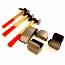 7PC AUTOBODY PANEL FENDER REPAIR KIT DENT TOOLS DOLLIES HAMMER WOOD HANDLE SHAFT