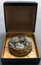 Vintage Boehm Porcelain Bird Baby Buntings In Nest Figurine Mint in Box