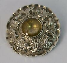 Quality Scottish Silver & Citrine Target Brooch of Thistle Design