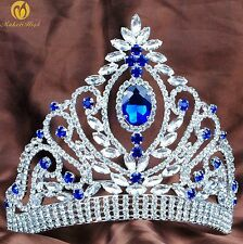 Blue Wedding Tiara Rhinestone Crystal Headpiece Beauty Pageant Crown Prom Party