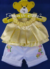YELLOW ROSES SWING TOP & WHITE CAPRI SET BUILD-A-BEAR TEDDY CLOTHES OUTFIT