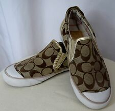 COACH Leatherworks Beale Khaki Gold Signature Slip On Sneakers Size 5.5