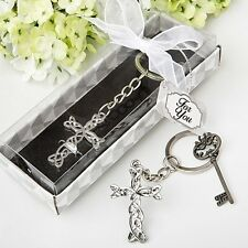 50 Intertwined Metal Cross Key Chain Baby Shower Gift Favors