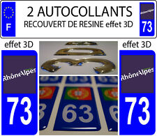 2 stickers plaque immatriculation auto TUNING DOMING 3D RESINE RHONE ALPES 73