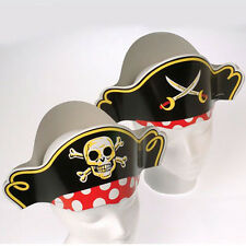Lot of 12 Paper Pirate Hats for Childs Birthday Party School Treasue Hunt Skull