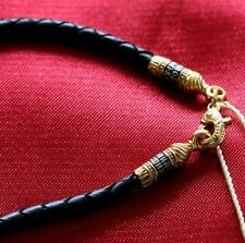 BLACK LEATHER ORTHODOX JEWELRY CORD.925 STERLING SILVER +.999GOLD.70cm, 27.5""