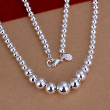 Women's Unisex 925 Sterling Silver Necklace Hollow Beads Balls B93