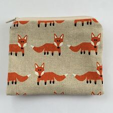Handmade zip coin purse fox fabric card holder zip pouch small make up bag lined