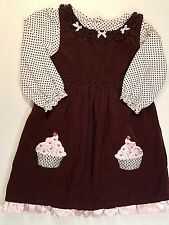 Youngland-Girls Size 5T-Embroidered Hearts-Cupcake-Corduroy Spring Jumper Dress