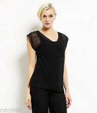 EILEEN FISHER LASER-CUT SILK CHIFFON CAP SLEEVES TOP $228 BLACK SMALL NWT