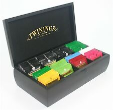 Twinings Black Luxury 8 Compartment Wooden Tea Chest Box 80 Twinings Tea Bags