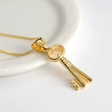 """18K Yellow Gold Filled key Pendant Necklace 18"""" Chain Link Fashion Jewelry"""