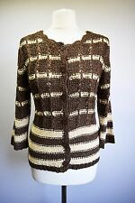LADIES KNIT JACKET TOP BOHEMIAN BOHO CHIC FASHION BROWN CREAM COTTON ACRYL 12 S