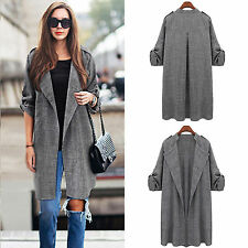 Womens Long Sleeve Waterfall Jacket Loose Trench Duster Coat Cardigan Top Outfit