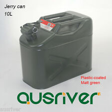 10L Jerry Can 0.8mm Plastic-coated Steel Portable Petrol Storage Can Matt Green