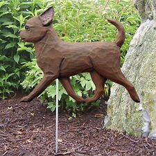 Chihuahua Outdoor Garden Sign Hand Painted Figure Chocolate