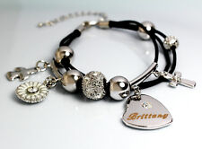 BRITTANY Cuir Charme Bracelet 18k Plaqué Or - Cristal Swarovski Élément Identité