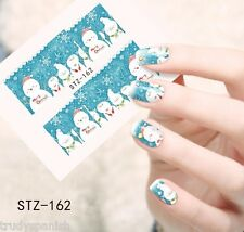 Full Wrap Water Transfers Nail Art Decals Christmas Snowflakes Snowman (162)